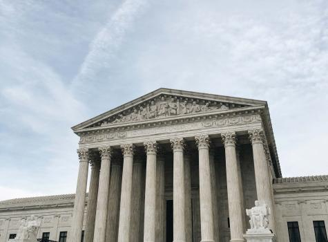 Supreme Court Facade - people posing in front