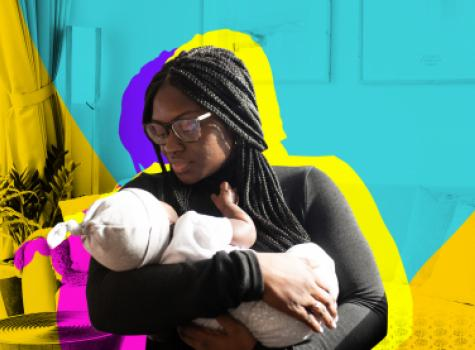 Woman holding baby - styled hero