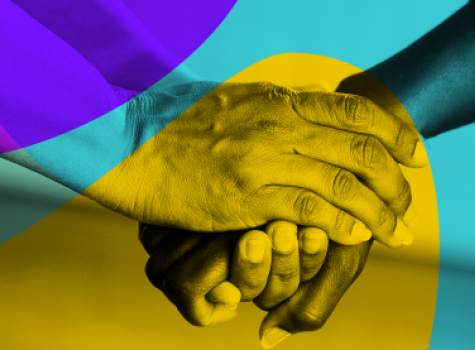 Hands holding styled image